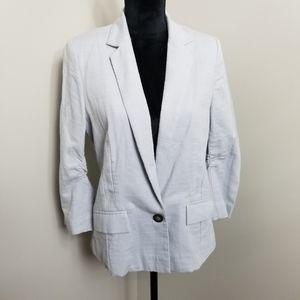 Anthropologie Elevenses Blue Cotton Linen Blazer 8